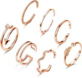 Milacolato 7PCS Verstellbare Band Fingerringe Set Niedliches Minimalistischer Silber Gold Roségold Welle Stapelbare Offene Ringe Set für Damen
