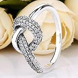 DJMJHG Geknotetes Herz Symbol Der Liebe Kristall Ring Für Frauen 925 Sterling Silber Ring Hochzeit Geschenk Europa Schmuck 8