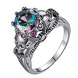 Hirolan Damen Vintage Ring Ovalem Fingerring Diamanten Farbige Zirkonringe Farbige Ringe Fingerringe Ringe Damen Eheringe Stimmungsring Damen-Ring Verlobungsring