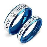 AOTIWE Geschenk Personalisiert Freundin, Ring Paar mit Kubisch Zirkonia mit Gravur 'LOVE DEVOTION' Edelstahl Silber Blau W 57 &M 60