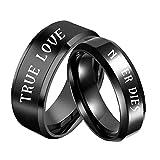 AOTIWE Keltischer Schmuck Damen, Verlobungsring Graviert 'TRUE LOVE and NEVER DIES' Edelstahl Schwarz W 57 &M 57