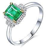 KnSam Damen Ring, Partnerringe Weiß 18K Weiß Gold Verlobungsring Gold Damen Mit 0.99ct Smaragd Diamond Sliber