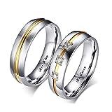 AOTIWE Eheringe Set, Eheringe Set mit Gravur 'Her King and His Queen' Edelstahl Jubiläum Hochzeitstag Silber Gold W 52 &M 65