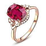 Bishilin Verlobungsring Rotgold 750 Diamant, Solitärring mit 3ct Oval Turmaline Eheringe Nickelfrei Damen Ringe Rosegold Gr.63 (20.1)