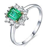 KnSam Damen Ring, Eheringe In Weißgold 18K Weiß Gold Gold Ring 18 Karat Mit 0.93ct Smaragd Diamond Sliber