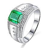 KnSam Herren Ring, Gold Ring Für Männer 18K Weiß Gold Bandringe In Gold Mit 1.5ct Smaragd Diamond Weiß Gold