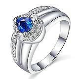 KnSam Damen Ring, Ring Gold Frauen 18K Weiß Gold Ringe Gold Hochzeit Mit 0.5ct Saphir Diamond Weiß Gold