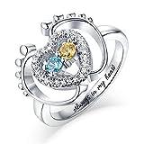 Personalisierter Baby Fuß Namensring Custom Birthstone Mom Ring Promise Ring 925 Sterling Silber Damenring(Silber 15.75)
