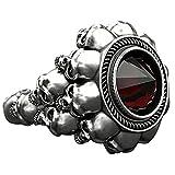 Handgemachter Sterling Silber Ring, Herren Schädel Brutaler Ring, Ein Geschenk für Ihn Edelstein Geburtsstein Saphir Smaragd Halo Statement Verlobungsringe für Frauen (N, 10#)