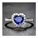 XDDT Ehering für Damen, herzförmig, S925, Verlobungsring, Braut, Zirkonia, elegant, CC829, Ewigkeitsring (Farbe: Blau, Ringgröße: 6)