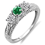 Damen Ring 14 Karat Weißgold Rund Diamant And Echte Smaragd Damen Vintage 3 Stein Verlobungsring