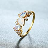 ZYX 925 Sterling Silber Mondsteinring, 18 Karat Vergoldet Offener Verlobungsringe Für Frauen, Hochzeitsversprechen Silberringe Für Sie