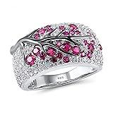 Opal Ringe 925 Sterling Silber Zacken Halo weiß Grüner Pflaumenzweig Ring Opal kubischer Zirkon Verlobungs Ring Hochzeit Ring Silberringe Damenring Antragsring Ringe Damen Schmuck für Frauen Mädchen