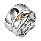 Lam Hub Fong Personalisierte Herren und Damen Versprechen Ringe Set für Paare Edelstahl Verlobung Eheringe Band Set für ihren Valentinstag Schmuck (Ring Paar)