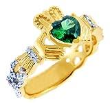 Little Treasures 9 Karat Gelb Gold 0.4 Ct Diamant Ehering Claddagh Ring Mit und 1.10 Ct Smaragd ColoRot Stein SII SII