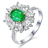 KnSam Damen Ring, Eheringe 750 Weissgold 18K Weiß Gold Trauringe Damen Mit 0.94ct Smaragd Diamond Sliber