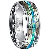 NUNCAD Ringe mit Grün Opal und Bunt Abalone-Muschel Inlay Herren Wolfram Ring Silber 8mm Ehering Verlobungsring für Männer Frauen Größe 72