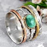 SHILIU Ring im böhmischen Retro-Stil, eingelegter ovaler grüner Stein, zweifarbiges Design, Fingerringe für Frauen, Persönlichkeitsschmuck G4M825