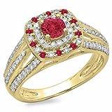 DazzlingRock Collection Damen 14K Gold Runde Geschnitten Rubin & Weiss Diament Vintage-Stil Braut Halo Verlobungsring 4
