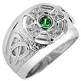 Kleine Schätze - Herren Ring / Verlobungsring / partnerring 925 Sterling Silber keltisch Zirkonia Smaragd