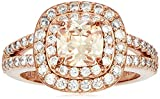 Doppelter Halo-Ring mit 14 Karat Rotgold vergoldetes Sterlingsilber champagnerfarbener Zirkonia 6 mm ,rose ,No Size