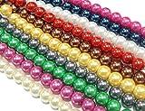 Perlin - 10 Stränge Glaswachsperlen 6mm Glasperlen Wachsperlen 10 Farben Konvolut Kugel Bastelset Perlenset Perlenmischung Schmuckperlen zum Fädeln Glass Pearl Beads D58