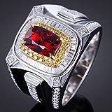 SPACELQ Mode Geschäfts Ringe für Frauen Luxus Dominieren Rot Zirkon Ring Hochzeit Verlobungsring Party Schmuck Jubiläumsgeschenk
