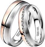DOOSTI Damen Herren Ringe Set für Paare Bicolor Silber Rosegold Edelstahl Damenring Herrenring als Partnerringe Freundschaftsringe Verlobungsring Mann Frau (Herrenring, 64 (20.4))