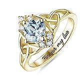 Personalisierter Verlobungsring für ihren benutzerdefinierten Diamant simulierten Geburtsstein Ring Namensversprechen Damenring(Gold 20)