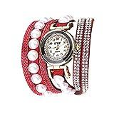 Damen Armband Uhr, Luotuo Frauen Luxus Dial Analog Quartz Armbanduhr Mehrere Samt Gurte mit Glänzender Kristall und Perle, 40CM Uhrenarmbänder, 26MM Exquisit Schmuck