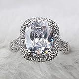 DJMJHG Luxus Silber 925 Ringe für Frauen Charms weibliche geometrische feine Schmuck Edelsteine Hochzeit Verlobungsring 6 weiß