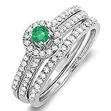 Damen Ring / Ehering 14 Karat Weißgold Rund Echte Smaragd & Diamant Halo Verlobungsring Set
