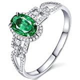 KnSam Damen Ring, Goldringe Verlobung 18K Weiß Gold Damen Ringe Rose Gold Mit 0.55ct Smaragd Diamond Sliber