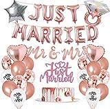40 Stück Hochzeits Dekoration Set, Rosegold Just Married Ballons Girlande, MR & MRS Banner, Konfetti Luftballons und Cake Topper für Heiratsantrag Wedding Verlobungs