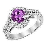 Damen Ring 14 Karat Weißgold 6.5 MM Rund Echte Amethyst & Diamant Shank Verlobungsring Halo Ring