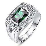 BONLAVIE Herren Ringe 925 Sterling Silber Mit Grün Smaragd Zirkon CZ Brillant Ringe für Partner/Eheringe Verlobungsring/Hochzeitsring/Engagement Ringe