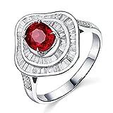 KnSam Damen Ring, Eheringe Verlobungsringe 18K Weiß Gold Eheringe Verlobungsringe Mit 1.2ct Rubin Diamond Weiß Gold