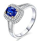KnSam Damen Ring, Eheringe Weissgold 18K Weiß Gold Verlobungsringe Frauen Mit 1ct Saphir Diamond Weiß Gold