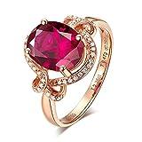 Daesar Damen Ring 750 Rotgold Halo Ring mit 2.36ct Rot Turmaline, Trauring Rosegold Diamant Verlobungsring Größe 49 (15.6)