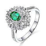 KnSam Damen Ring, Ring Gold Frauen 18K Weiß Gold Ring Damen Verlobung Mit 0.8ct Smaragd Diamond Weiß Gold