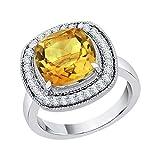 KATARINA Verlobungsring Citrin Diamant- und Kissenschliff in 14 Karat Gold (4 1/3 cttw, G-H, I2-I3)