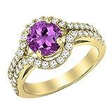 Damen Ring 14 Karat Gelbgold 6.5 MM Rund Echte Amethyst & Diamant Shank Verlobungsring Halo Ring
