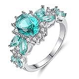 LCSD Kreativer Zirkon Ring Mode Silber Glänzend Diamant Elegantes Schmuckzubehör, Tolle Geschenke für Frauen Verlobungsringe,Grün,7