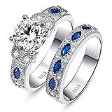 BONLAVIE Damen Ringe 925 Sterling Silber Saphir Dekoration Verlobungsring Set