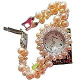 CHXISHOP Quarzuhr Damen Armbanduhr mit Perlenarmband Wasserdicht Designfashion Charm Handgemachter Schmuck Perlen Edelstahl Adapter Armband orange