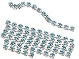 EIMASS® Strass-Kette, für Schmuck, Einnähen oder mit Klebstoff anbringen, Aquamarine in Silver Casing, Breite 4 mm x Länge 1 m