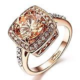 Acefeel Damen-Ring Verlobungsring rosévergoldet mit Zirkonia in Brillant-Schliff - Wickelring in Rosegold-Farben Ehering in Solitär-Ring Look