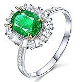 KnSam Damen Ring, Verlobungsring Frau 18K Weiß Gold Ringe Gold Echt Mit 1.15ct Smaragd Diamond Sliber