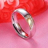 JIEZ Ehering für Frauen Männer Silber Farbe Edelstahl Liebesring Zirkonia Herz Paar Verlobungsring Liebhaber 10 mit Zirkonia