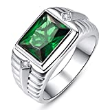 BONLAVIE Herren Ringe 925 Sterling Silberringe Mit Stein Quadrat Grün Smaragd Zirkon Verlobungsring